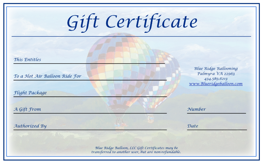 Blue Ridge Balloon Gift Certificate